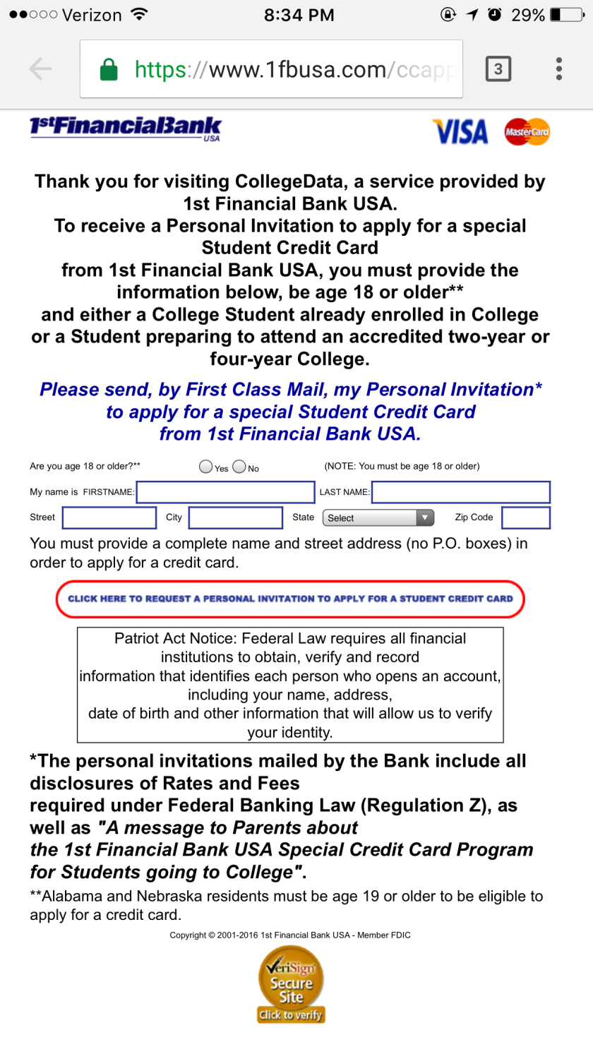 1st Financial Bank Application