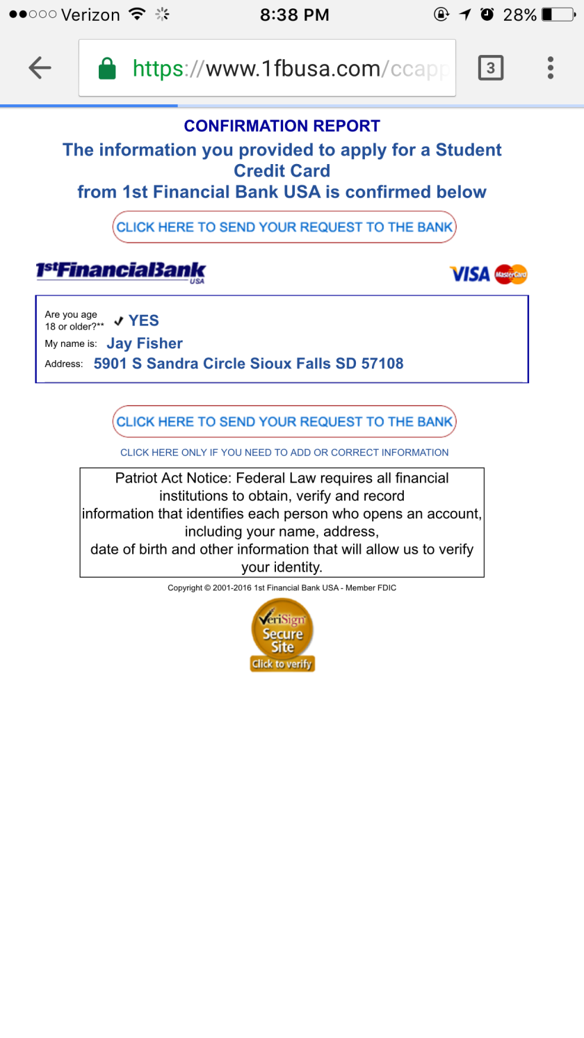 1st Financial Bank Confirmation